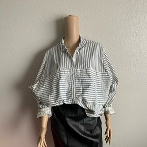 Vintage 80s Oversized Striped Cotton Button Down